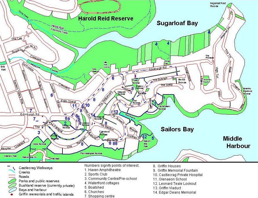 Castlecrag map